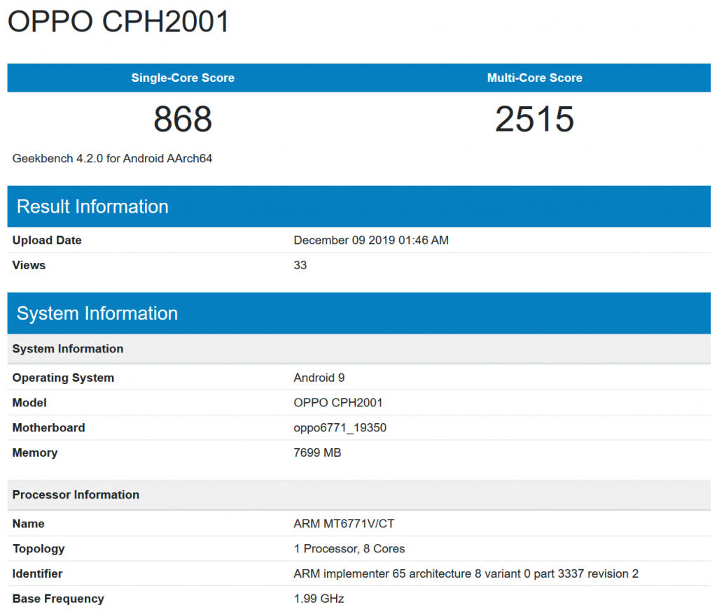 oppo geekbench mediatek