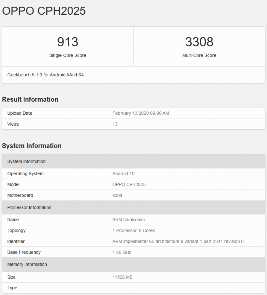 oppo trouver x2 pro geekbench