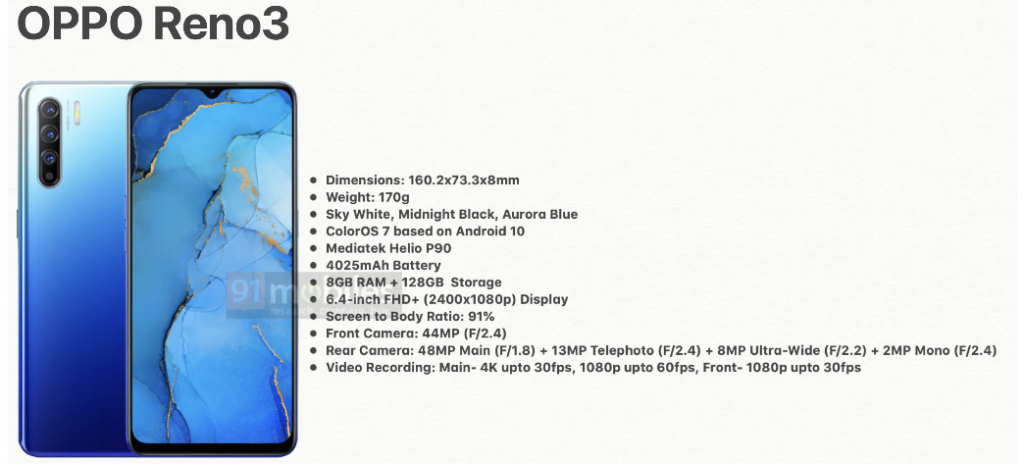 oppo reno 3 global specifications