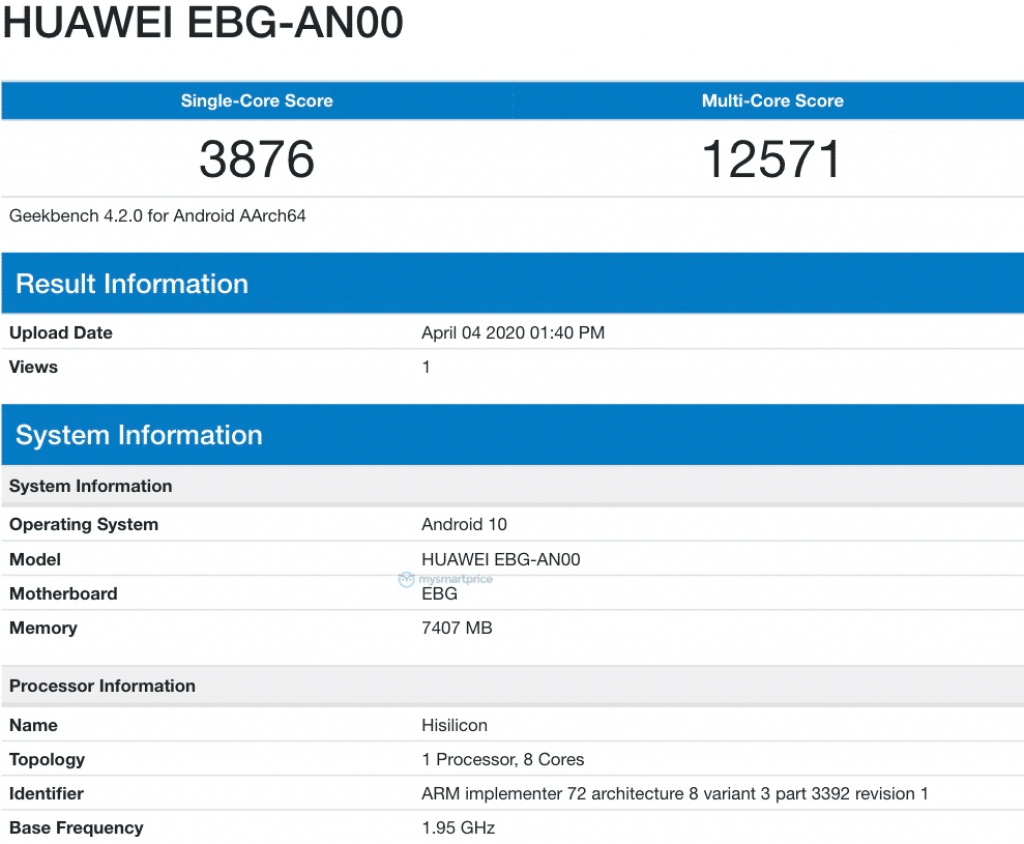 Honor 30 Pro geekbench